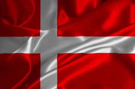 danmark: Danmark flag on satin texture.