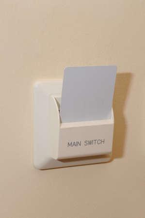 electric fixture: Keycard albergo e un primo piano switch. Archivio Fotografico