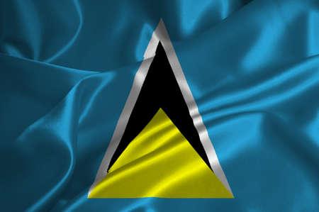 st lucia: St. Lucia flag on satin texture.