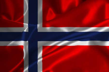 Norway flag on satin texture.