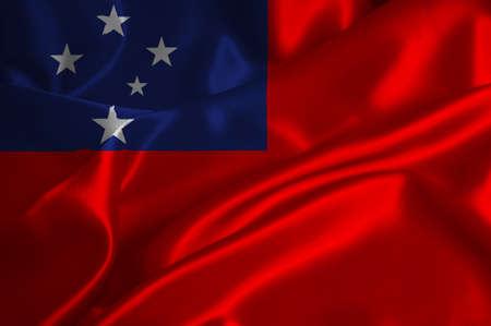 samoa: Samoa flag on satin texture.