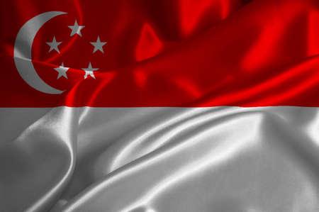 singaporean flag: Singapoore flag on satin texture