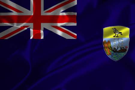 helena: Saint Helena flag on satin texture.