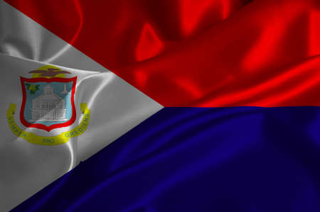 dutch flag: St Maarteen flag on satin texture. Stock Photo