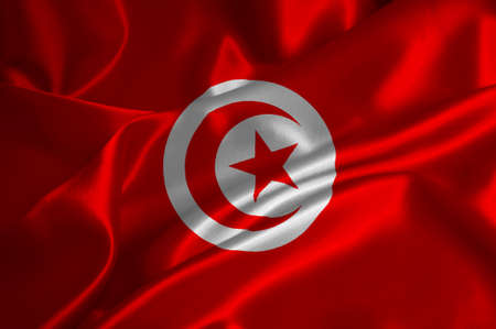 Tunisia flag on satin texture. photo