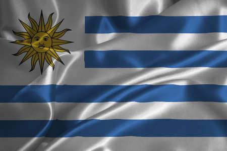 uruguay flag: Uruguay flag on satin texture.