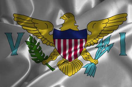 the virgin islands: Virgin Islands USA flag on satin texture. Stock Photo