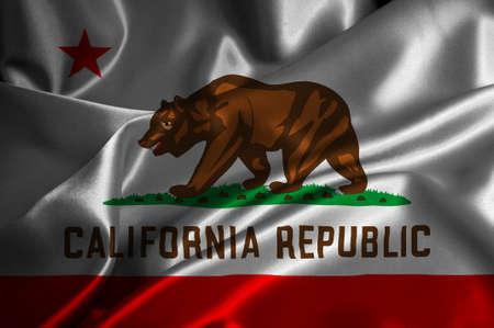 california flag: California flag on satin texture  Stock Photo