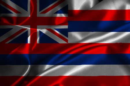 hawaii flag: Hawaii flag on satin texture