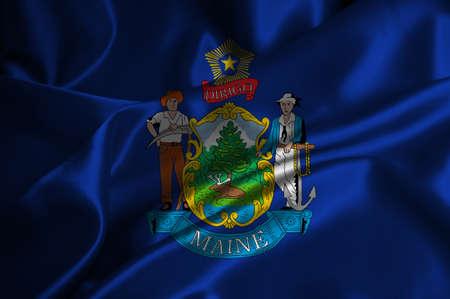 Maine bandiera satinata Archivio Fotografico - 25229558