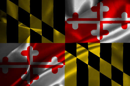 maryland flag: Maryland flag on satin texture  Stock Photo