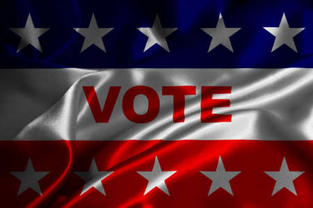 Vote flag with stars on satin background.