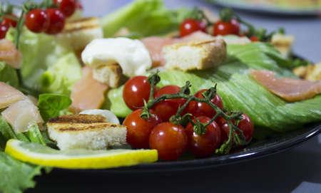 fresh green salad with smoked salmon photo