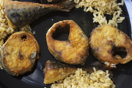 pickerel: mackerel with a curry and rice Stock Photo