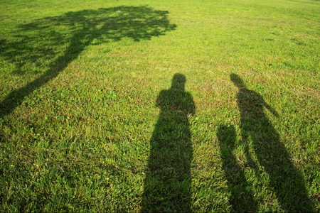 silhouette family on grass shadow