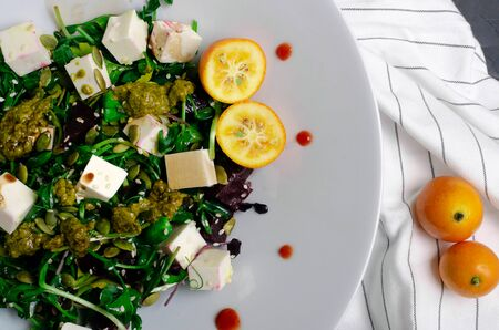 beetroot salad with nut,onion,beetroot leaves and cream cheese