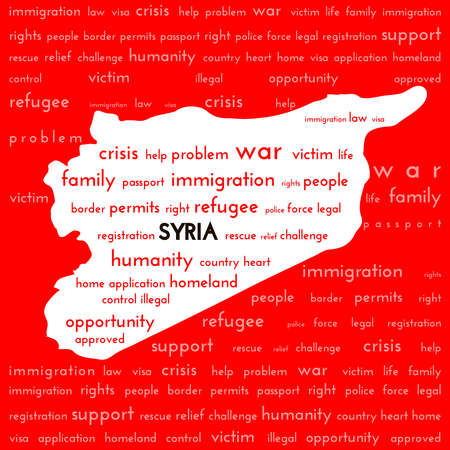 victim: White Syria country map silhouette surrounded bloody red color with the words: war victim immigration Syria refugee. War victims and refugee crisis in the Mediterranean concept.  vector illustration Illustration