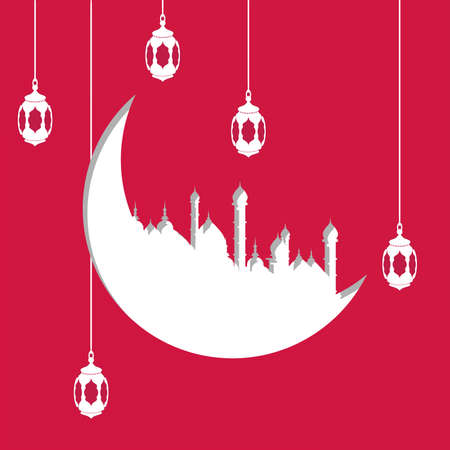 holy: Arabic moon shape paper cutout with illustration of hanging lamps or lanterns on red background for Islamic holy month of prayer celebration for Muslim holiday. Eid al-Adha and Eid al-Fitr, Al-Hijra