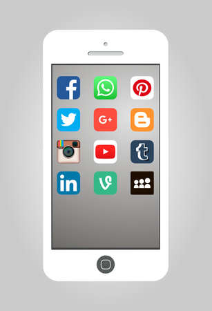 October 26, 2015: Vector Illustration of Popular social media app displayed on a smartphone screen Stock Illustratie