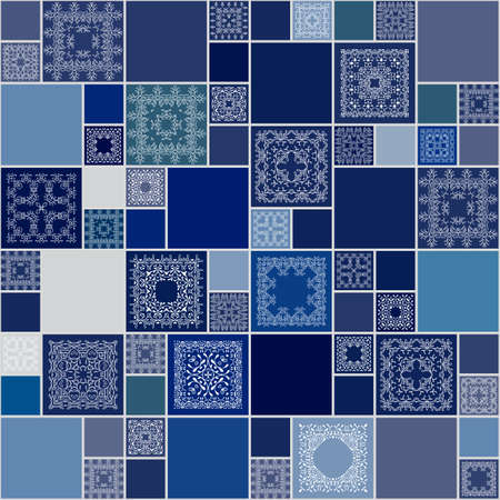 islam: Seamless abstract pattern frame of trendy colored floral flower tiles. For wallpaper, surface textures, textile. Summer-Autumn Design. India, Islam ethnic round style. White, blue.