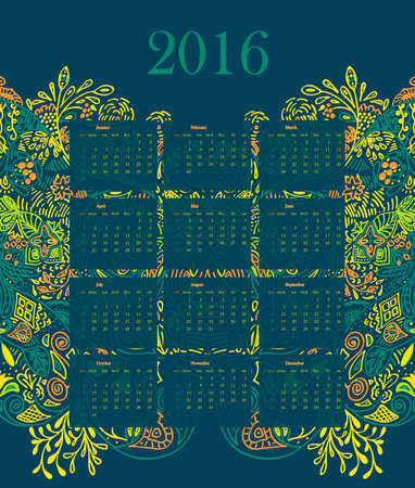 campanula: Calendar 2016 illustration vector template with green background with floral nature ornament leaves, roses, flowers, branches, campanula, bluebell. week starts monday.  Yellow, Red.  Illustration