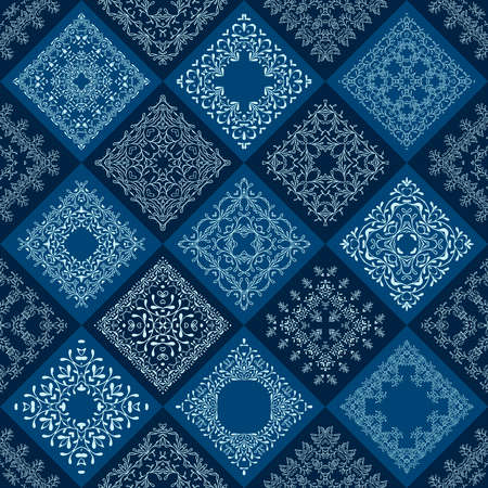 Abstract Patchwork tiles seamless background.  Floral pattern texture design. Mosaic old fashion creative backdrop. Color dark, light blue, indigo, aqua, teal.