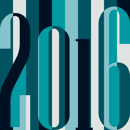 numbers background: Happy New Year 2016 concept. Vintage ornamental geometric inscription. calendar, invitation, post cards, congratulation, business. Color rainbow: blue, grey, teal. Striped backdrop 80s. Illustration