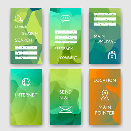 morgage: Set of poster, brochure design templates with Map Location, Mail, Internet, Homepage for web interface, Feedback Comment, Search  Infographic Concept. Abstract modern backgrounds for app.