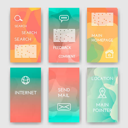 morgage: Set of poster,  brochure design templates with Map Location, Mail, Internet, Homepage for web interface, Feedback Comment, Search  Infographic Concept. Abstract modern backgrounds for app. Illustration