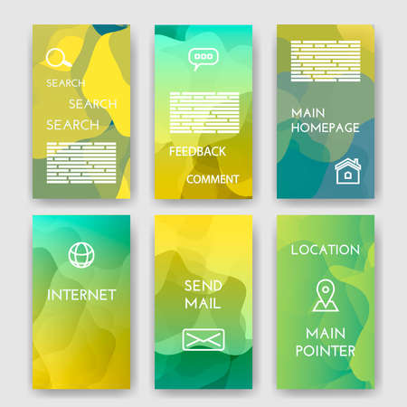 morgage: Set of poster, flyer, brochure design templates with Map Location, Mail, Internet, Homepage for web interface, Feedback Comment, Search  Infographic Concept. Abstract modern backgrounds for app.