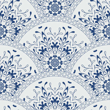 floral vector: Seamless patchwork pattern frame of trendy colored floral flower tile circles. For wallpaper, surface textures, fabric textile swatch. Indian Islam mexican ethnic round style. indigo blue vector Illustration