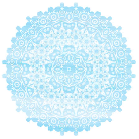 ethic: Light Blue Mandala watercolor effect. Vintage decorative elements. Hand drawn background. Islam, Arabic, Asian, Indian, ottoman ethic motifs. Round Ornament Pattern Texture Vector. Snowflakes.