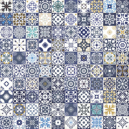 Gorgeous floral patchwork design. Colorful Moroccan or Mediterranean square tiles, tribal ornaments. For wallpaper print, pattern fills, web background, surface textures.  Indigo blue white teal aqua