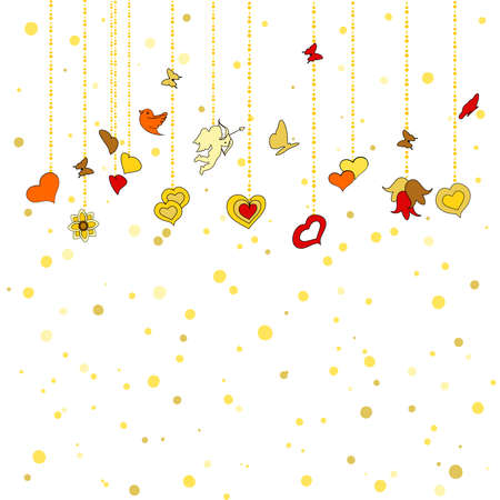 february 14: Little hanging hearts, other decorations on golden dots background. Greeting card for Valentines day, february 14, or Wedding Engagement invintation. Save the date card. romantic illustration