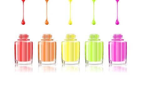 Vivid uñas arco iris botellas de esmalte. goteos multicolores aislados sobre fondo blanco. eps10 ilustración vectorial: malla y degradado. Manicura colorida. Para la publicidad de cosméticos de belleza de la moda Ilustración de vector