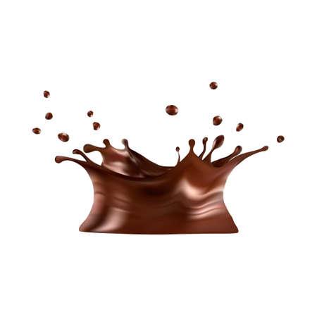 Hot chocolate splash with drops Stock Illustratie