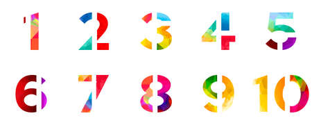 one by one: Abstract bright rainbow polygon number alphabet colorful font style.