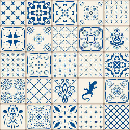 Indigo Blue Tiles Floor Ornament Collection. Gorgeous Seamless Patchwork Pattern from Colorful Traditional Painted Tin Glazed Ceramic Tilework Vintage Illustration. For web page template background.