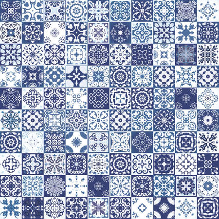 Mega Gorgeous bez szwu wzór z kolorowych patchwork marokańskie płytki, ozdoby. Może być stosowany do tapety, wzór wypełnienia tła strony internetowej, faktur powierzchni.