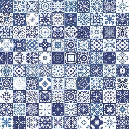 Mega Herrliche nahtlose Patchwork-Muster aus bunten marokkanischen Fliesen, Verzierungen. Kann für Tapeten, Muster füllt, Web-Seite Hintergrund, Oberflächen-Texturen verwendet werden.