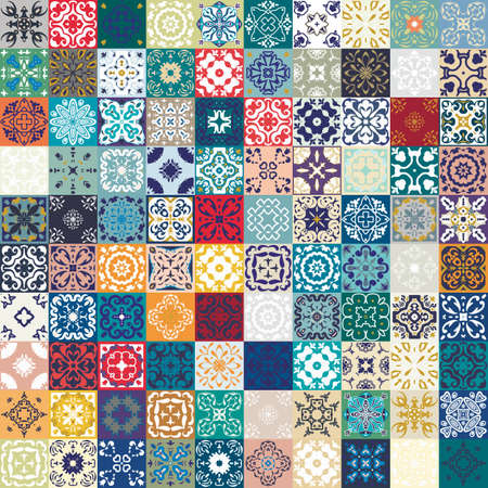 Mega Gorgeous seamless patchwork pattern from colorful Moroccan tiles, ornaments. Vettoriali