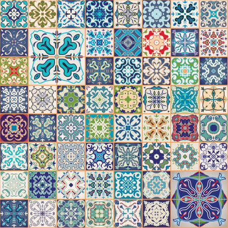 Gorgeous floral patchwork design. Colorful Moroccan or Mediterranean square tiles, tribal ornaments. For wallpaper print, pattern fills, web background, surface textures.  Indigo blue white teal aqua. Illustration