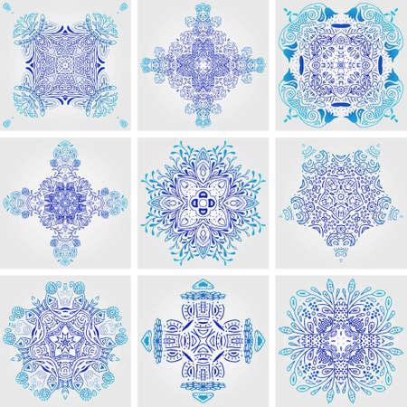 メキシコ様式化されたタラベラ タイル シームレス パターンのセットです。デザインとファッションの背景。アラビア語、インドのパターン、メキ