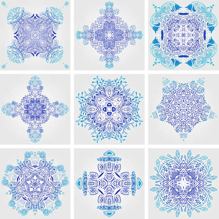 talavera: Set of Mexican stylized talavera tiles seamless pattern. Background for design and fashion. Arabic, Indian patterns, Mexican talavera tiles. Illustration