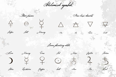 Medieval Magical Alchemical science signs set, hand-drawn ink style. Primes, basic elements, planetary metals with hand drawn vintage title. Alchemy collection. philosophy, occultism Illustration