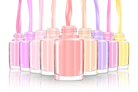 Nail polish bottle. nail bottle spash. pastel. 3d illusration vector