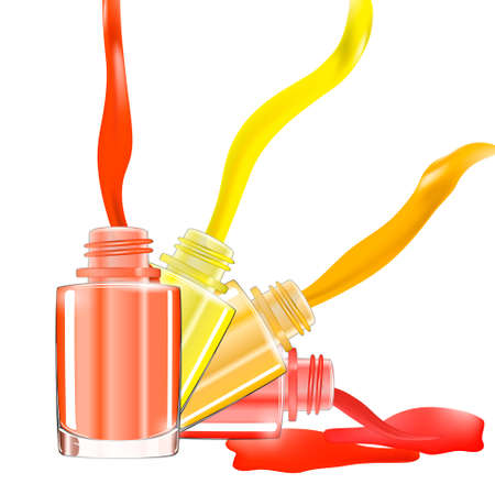 lacquer: Bottles with spilled nail polish over white background with splatter enamel