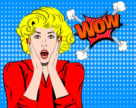 wonder: Wow. Wow face. Wow expression. Surprised woman with open mouth . Pop art wonder woman. Wow emotion. Wow Comic woman. Surprised pop art girl. Shock. Shock woman. Surprised face. Wonder face