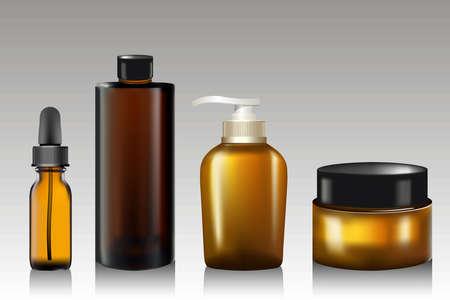 現実的な精油ボトル、クリーム石鹸、シャンプー、軟膏、ローション用チューブ。ポンプ モックを石鹸します。化粧品の小瓶フラスコ。香水のコン