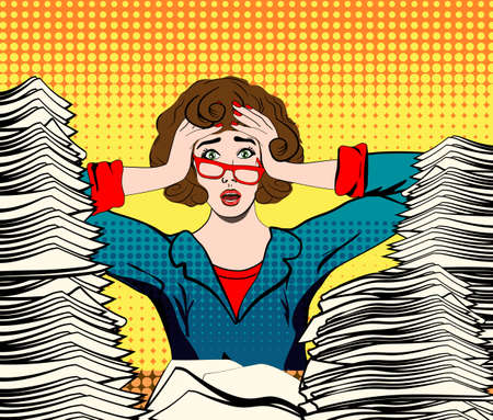 stressed woman. stressed worker. businesswoman in panic. a young girl sits at his Desk and holds her hands on her head. pop art illustration. Paper Work. Stressed person concept Vectores